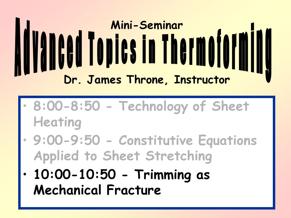 Thermoforming – 1. Form and in- place trimming [GN] Part 3: Trimming as Mechanical Fracture
