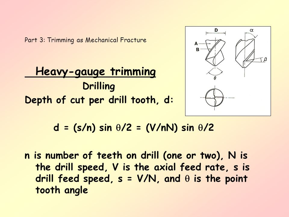 Heavy-gauge trimming Drilling Depth of cut per drill tooth, d: d = (s/n) sin /2 = (V/nN) sin /2 n is number of teeth on drill (one or two), N is the d