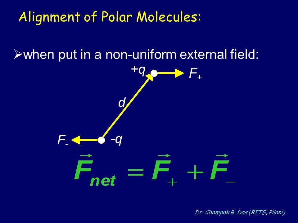Dr. Champak B. Das (BITS, Pilani) Alignment of Polar Molecules: when put in a non-uniform external field: d F+F+ F-F- -q +q