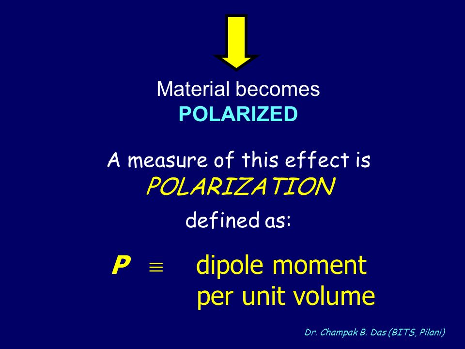 Dr. Champak B. Das (BITS, Pilani) A measure of this effect is POLARIZATION defined as: P dipole moment per unit volume Material becomes POLARIZED