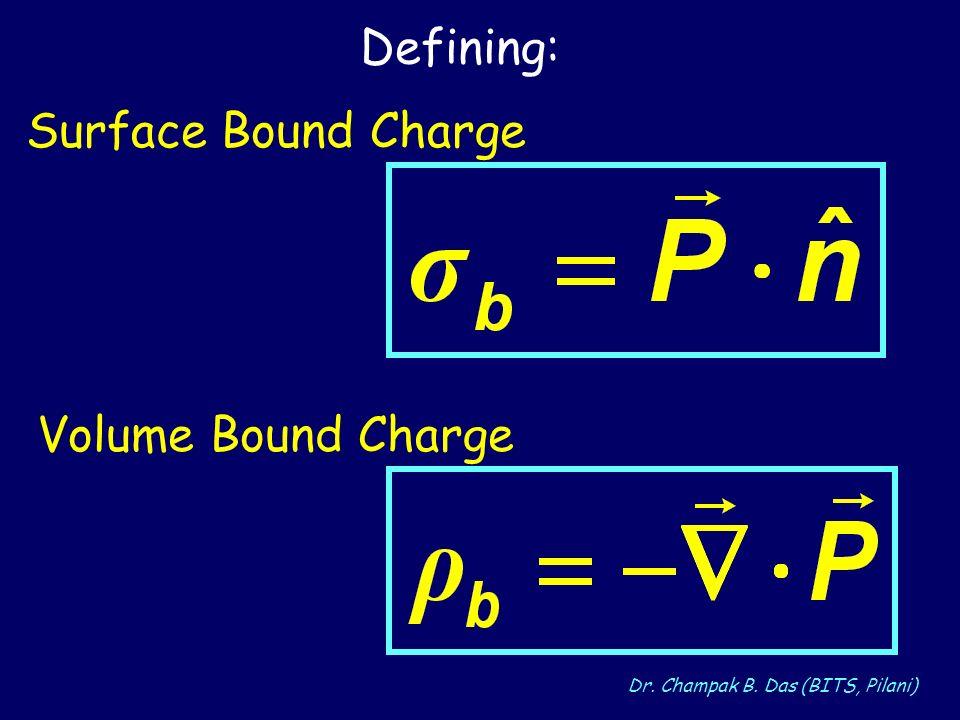 Dr. Champak B. Das (BITS, Pilani) Defining: Volume Bound Charge Surface Bound Charge