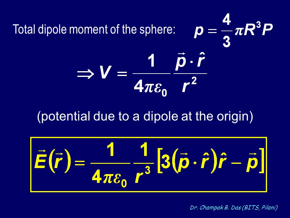 Dr. Champak B. Das (BITS, Pilani) (potential due to a dipole at the origin) Total dipole moment of the sphere:
