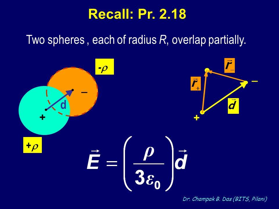 Dr. Champak B. Das (BITS, Pilani) Recall: Pr. 2.18 Two spheres, each of radius R, overlap partially. + - _ + d _ +