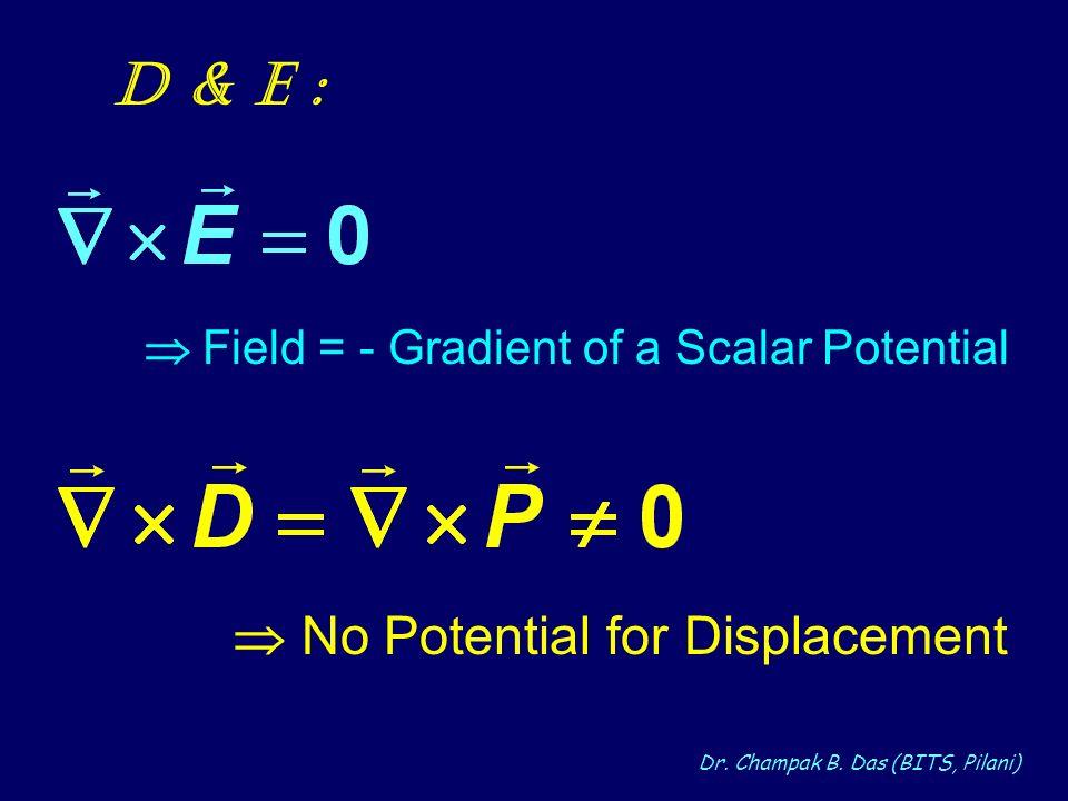 Dr. Champak B. Das (BITS, Pilani) D & E : Field = - Gradient of a Scalar Potential No Potential for Displacement