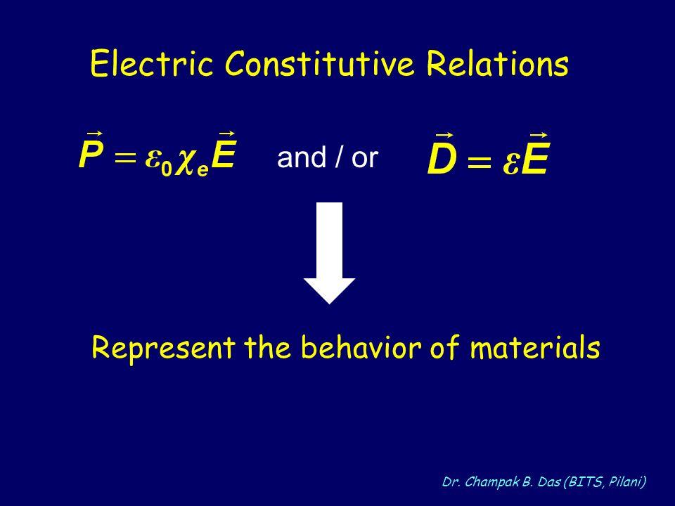Dr. Champak B. Das (BITS, Pilani) and / or Electric Constitutive Relations Represent the behavior of materials