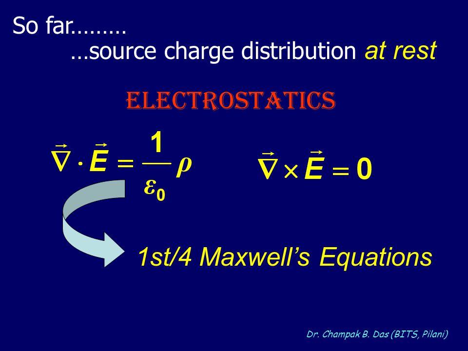 Dr. Champak B. Das (BITS, Pilani) So far……… …source charge distribution at rest ELECTROSTATICS 1st/4 Maxwells Equations