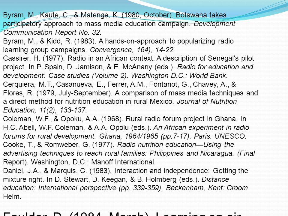 Byram, M., Kaute, C., & Matenge, K.(1980, October).