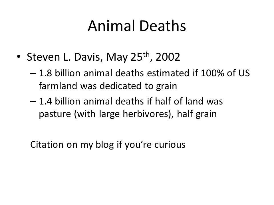 Animal Deaths Steven L. Davis, May 25 th, 2002 – 1.8 billion animal deaths estimated if 100% of US farmland was dedicated to grain – 1.4 billion anima