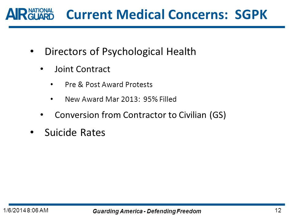 Guarding America - Defending Freedom 121/6/2014 8:06 AM Current Medical Concerns: SGPK Directors of Psychological Health Joint Contract Pre & Post Awa