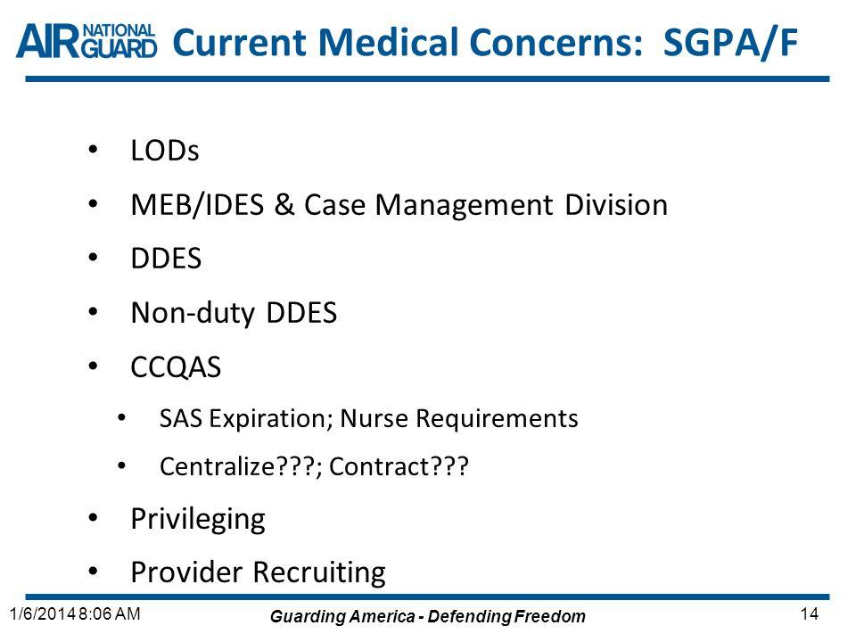 Guarding America - Defending Freedom 141/6/2014 8:06 AM Current Medical Concerns: SGPA/F LODs MEB/IDES & Case Management Division DDES Non-duty DDES C