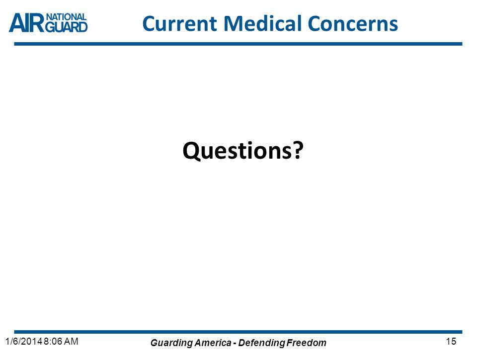 Guarding America - Defending Freedom 151/6/2014 8:06 AM Current Medical Concerns Questions?