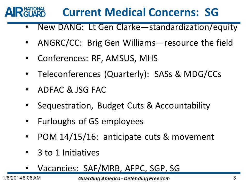 Guarding America - Defending Freedom 31/6/2014 8:06 AM Current Medical Concerns: SG New DANG: Lt Gen Clarkestandardization/equity ANGRC/CC: Brig Gen W
