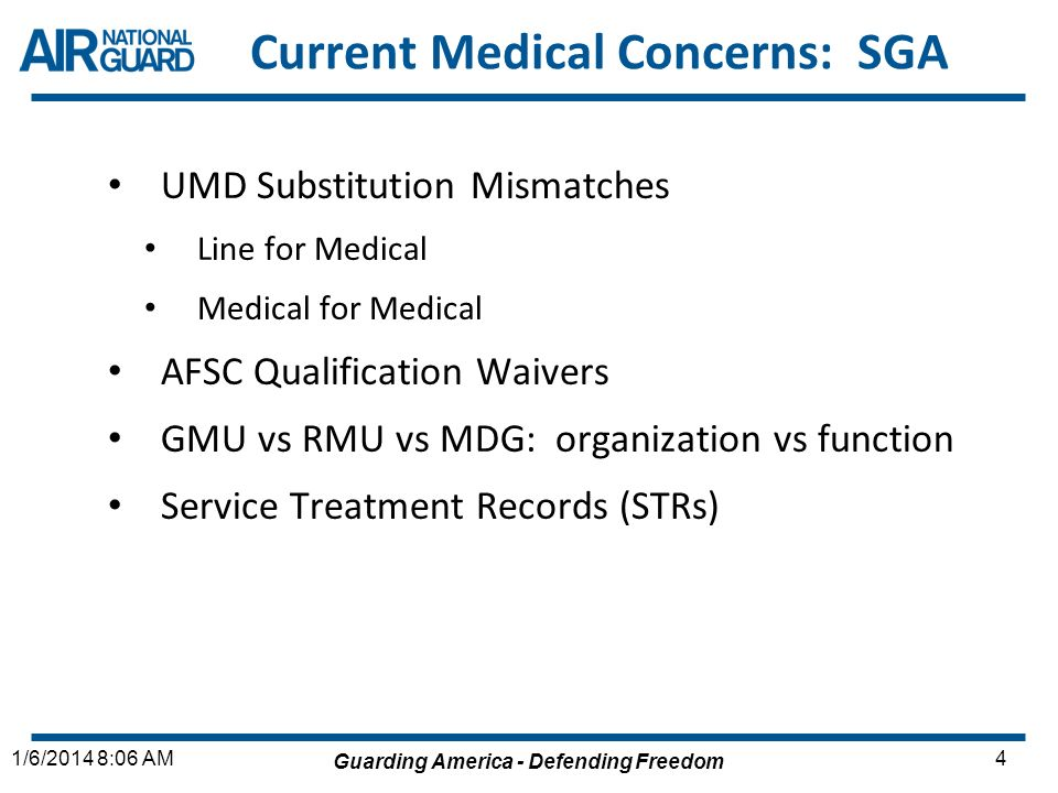 Guarding America - Defending Freedom 51/6/2014 8:06 AM Current Medical Concerns: SGAE Medical Readiness TrainingRF in the future.