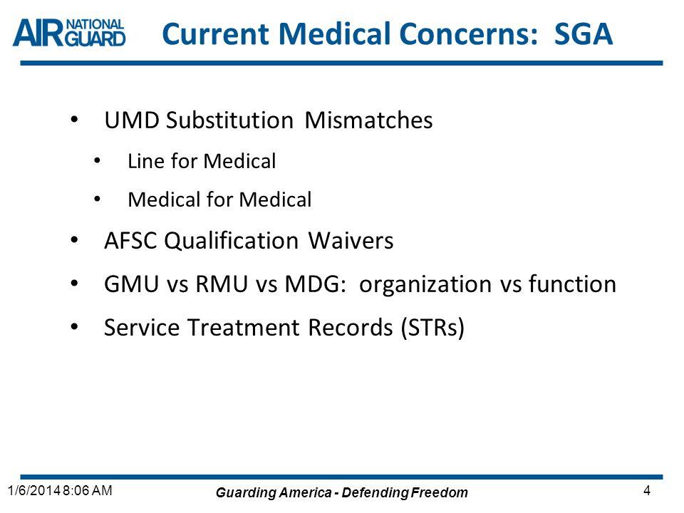 Guarding America - Defending Freedom 41/6/2014 8:06 AM Current Medical Concerns: SGA UMD Substitution Mismatches Line for Medical Medical for Medical