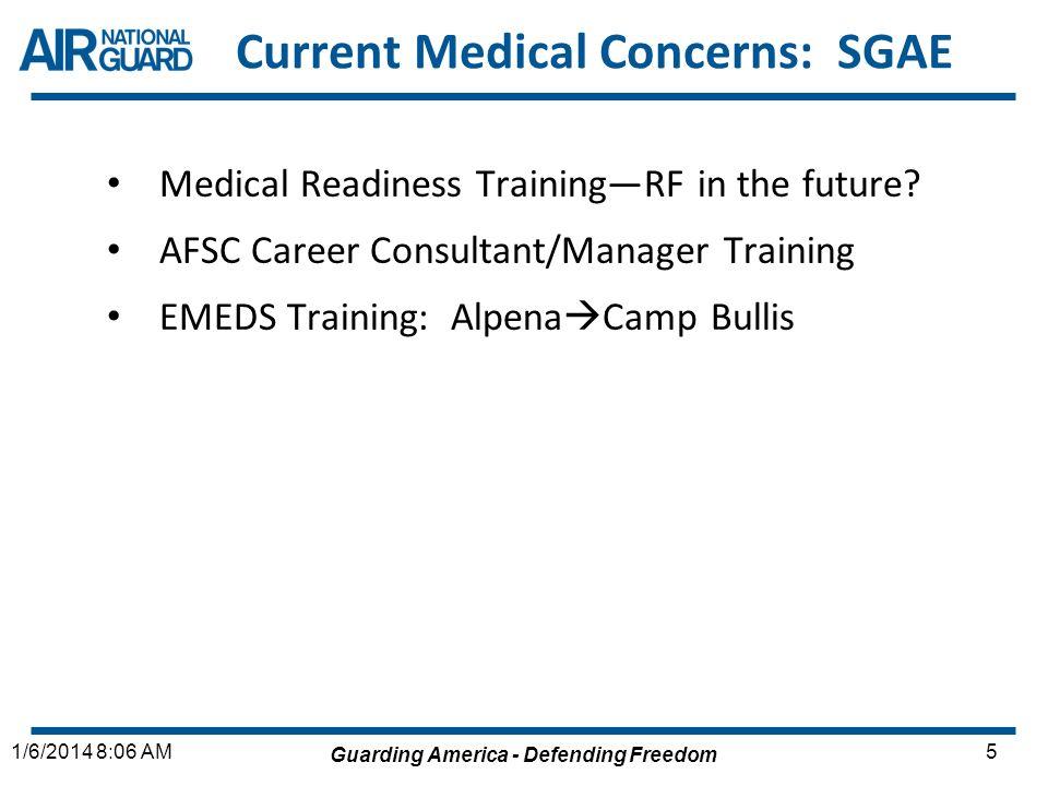 Guarding America - Defending Freedom 51/6/2014 8:06 AM Current Medical Concerns: SGAE Medical Readiness TrainingRF in the future? AFSC Career Consulta