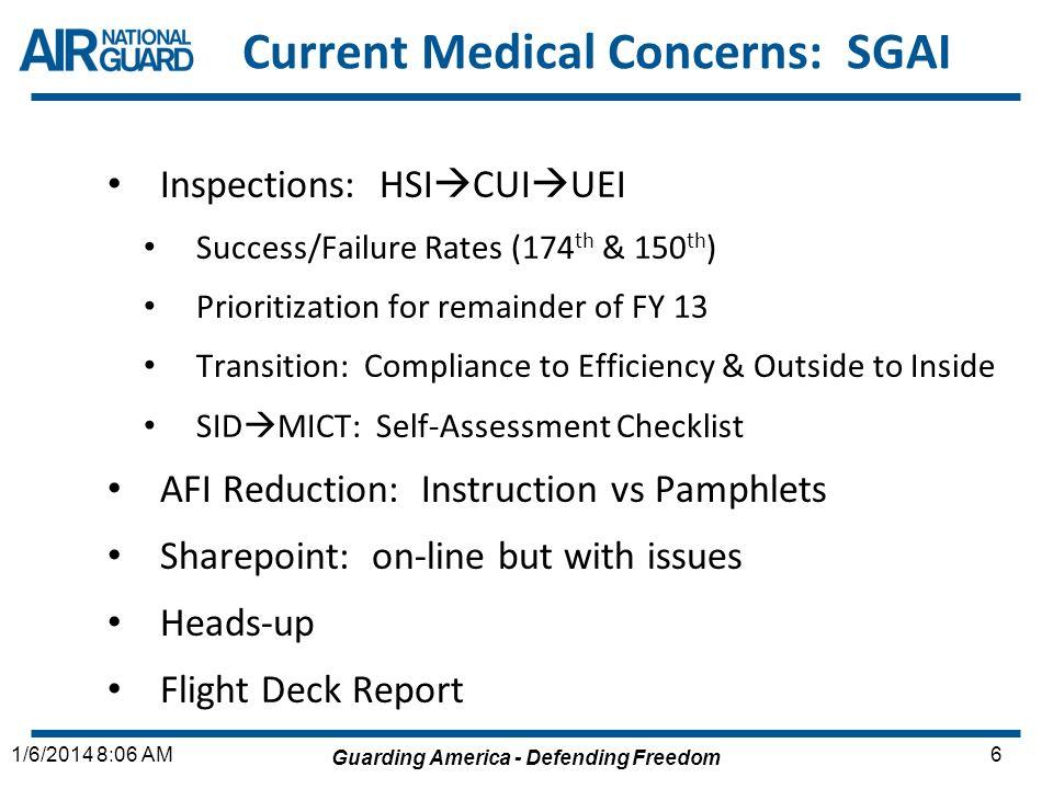 Guarding America - Defending Freedom 61/6/2014 8:06 AM Current Medical Concerns: SGAI Inspections: HSI CUI UEI Success/Failure Rates (174 th & 150 th