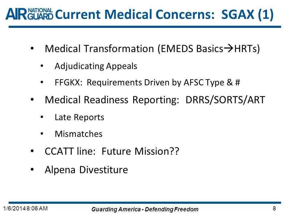 Guarding America - Defending Freedom 81/6/2014 8:06 AM Current Medical Concerns: SGAX (1) Medical Transformation (EMEDS Basics HRTs) Adjudicating Appe