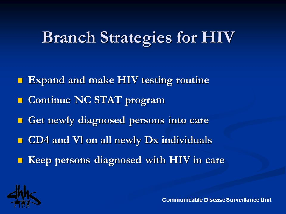 Communicable Disease Surveillance Unit Branch Strategies for HIV Expand and make HIV testing routine Expand and make HIV testing routine Continue NC S