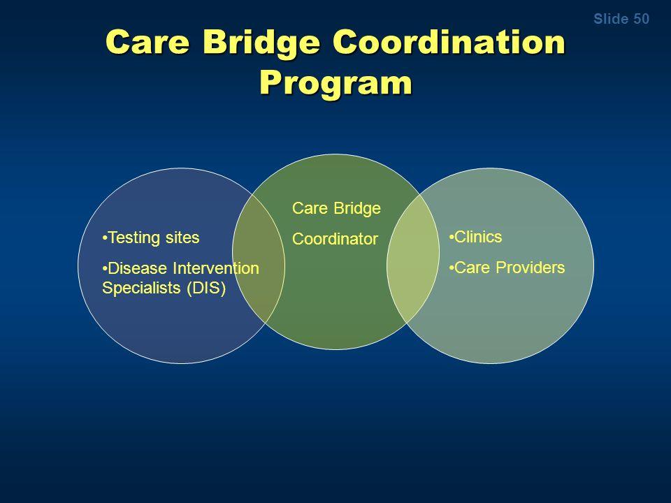 Slide 50 Care Bridge Coordination Program Testing sites Disease Intervention Specialists (DIS) Care Bridge Coordinator Clinics Care Providers