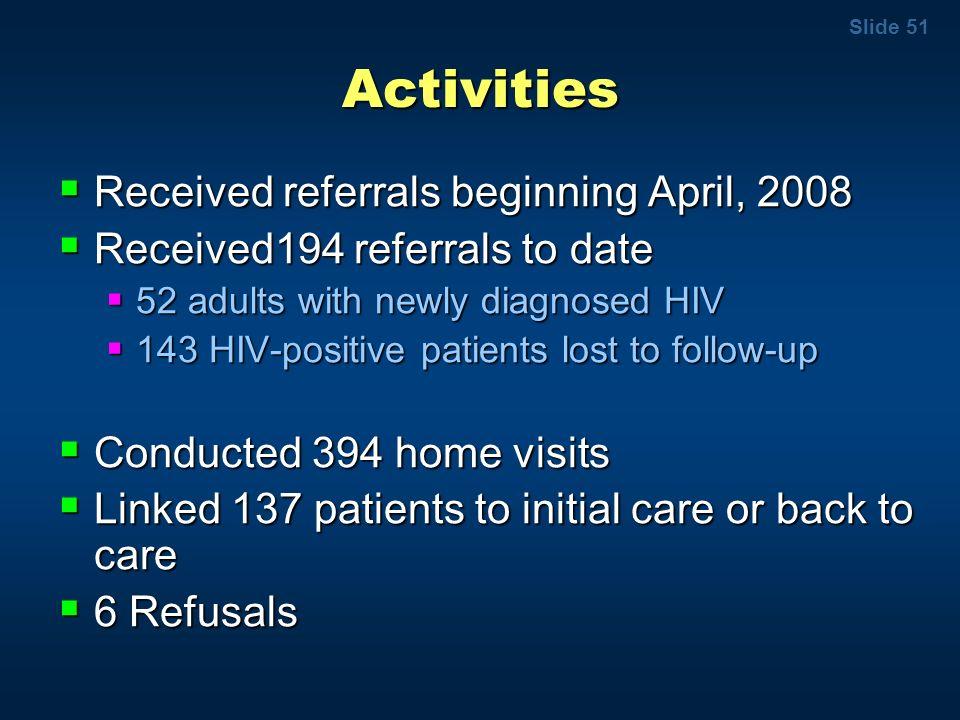 Slide 51 Activities Received referrals beginning April, 2008 Received referrals beginning April, 2008 Received194 referrals to date Received194 referr