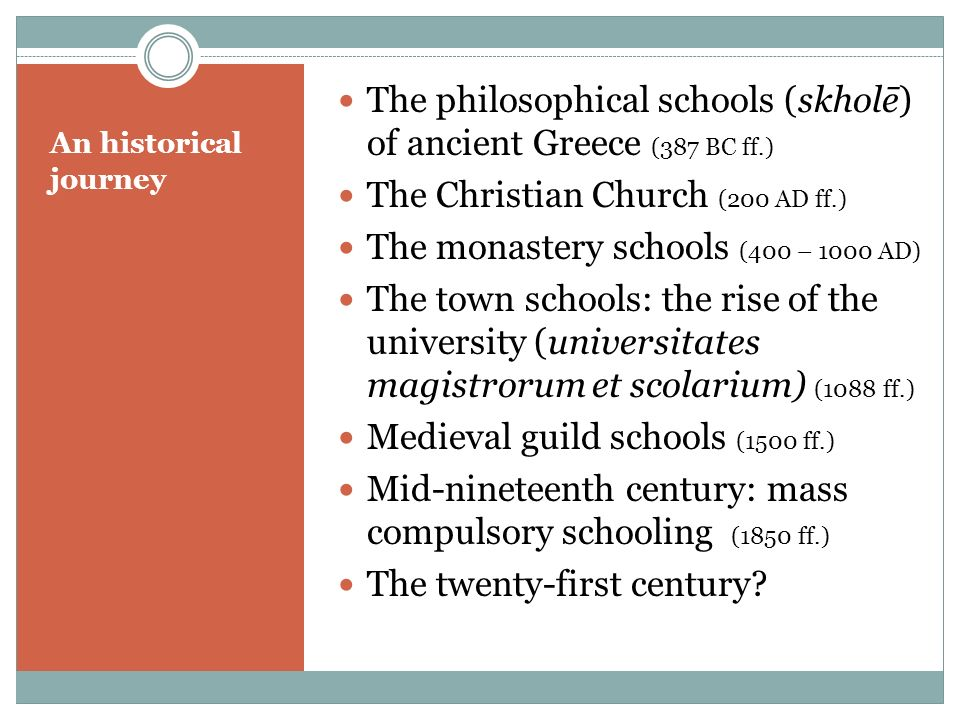 An historical journey The philosophical schools (skholē) of ancient Greece (387 BC ff.) The Christian Church (200 AD ff.) The monastery schools (400 –