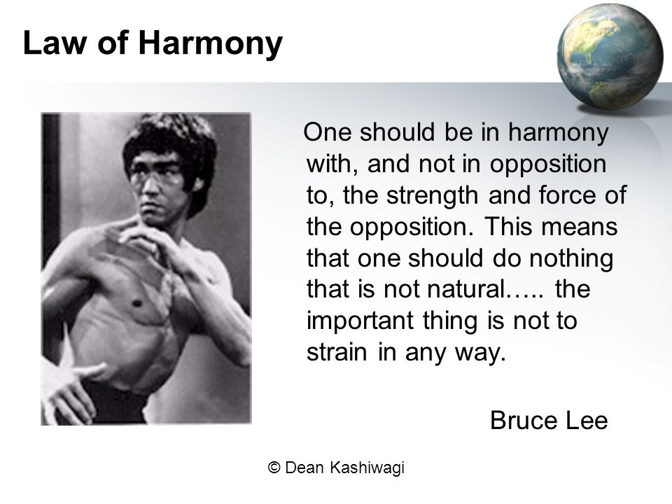 © Dean Kashiwagi Law of Harmony One should be in harmony with, and not in opposition to, the strength and force of the opposition.