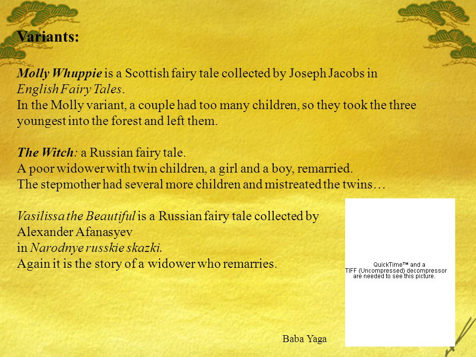 Variants: Molly Whuppie is a Scottish fairy tale collected by Joseph Jacobs in English Fairy Tales.