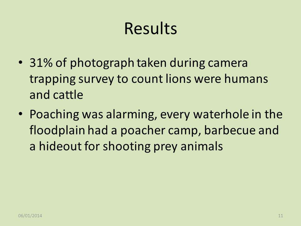 Results 31% of photograph taken during camera trapping survey to count lions were humans and cattle Poaching was alarming, every waterhole in the floo