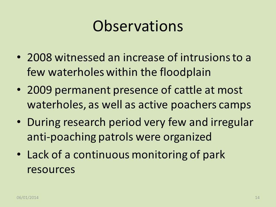 Observations 2008 witnessed an increase of intrusions to a few waterholes within the floodplain 2009 permanent presence of cattle at most waterholes,