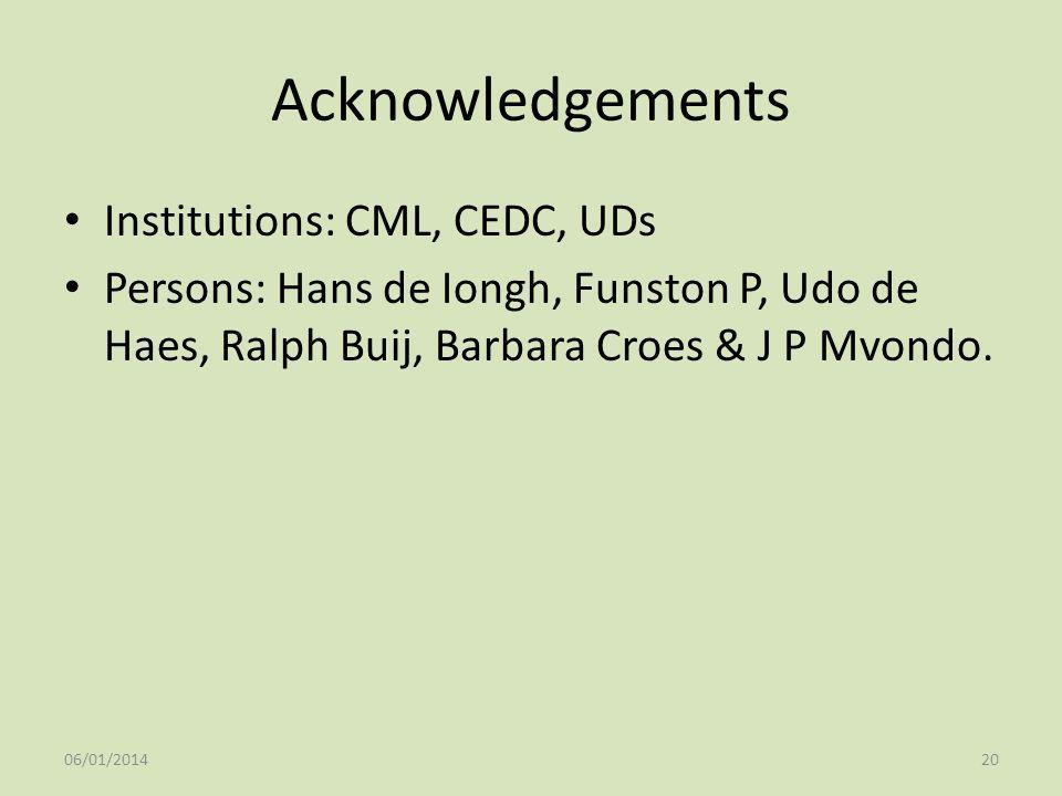 Acknowledgements Institutions: CML, CEDC, UDs Persons: Hans de Iongh, Funston P, Udo de Haes, Ralph Buij, Barbara Croes & J P Mvondo. 06/01/201420