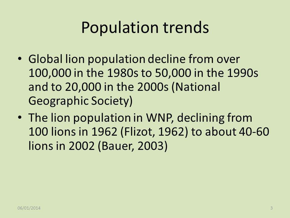 Population trends Global lion population decline from over 100,000 in the 1980s to 50,000 in the 1990s and to 20,000 in the 2000s (National Geographic