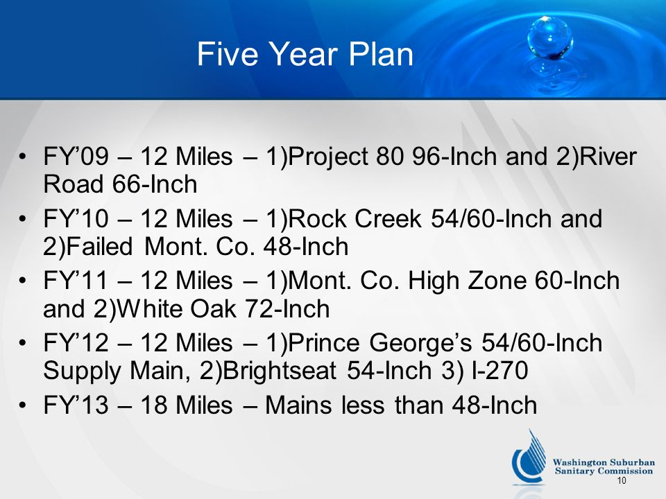 10 Five Year Plan FY09 – 12 Miles – 1)Project 80 96-Inch and 2)River Road 66-Inch FY10 – 12 Miles – 1)Rock Creek 54/60-Inch and 2)Failed Mont. Co. 48-