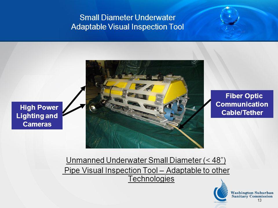 13 Small Diameter Underwater Adaptable Visual Inspection Tool Unmanned Underwater Small Diameter (< 48) Pipe Visual Inspection Tool – Adaptable to oth