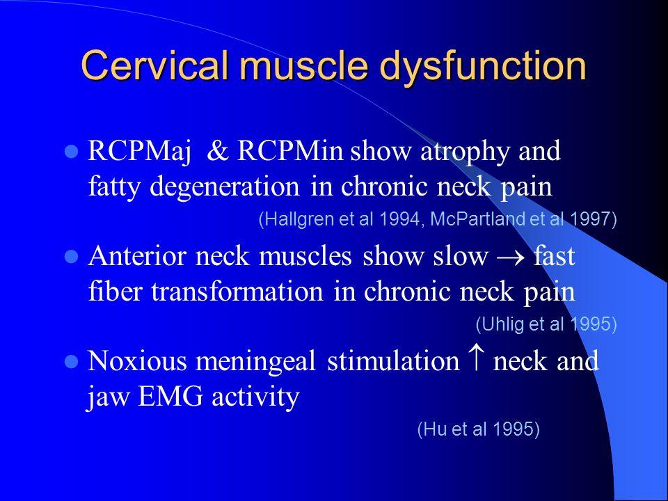 Cervical muscle dysfunction RCPMaj & RCPMin show atrophy and fatty degeneration in chronic neck pain (Hallgren et al 1994, McPartland et al 1997) Ante