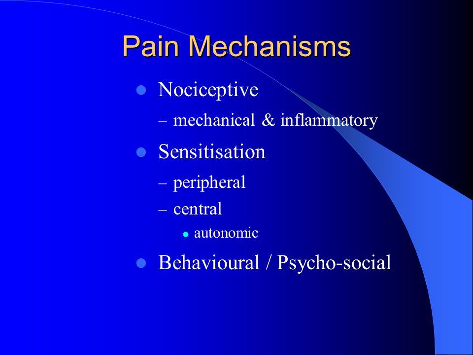 Pain Mechanisms Nociceptive – mechanical & inflammatory Sensitisation – peripheral – central autonomic Behavioural / Psycho-social