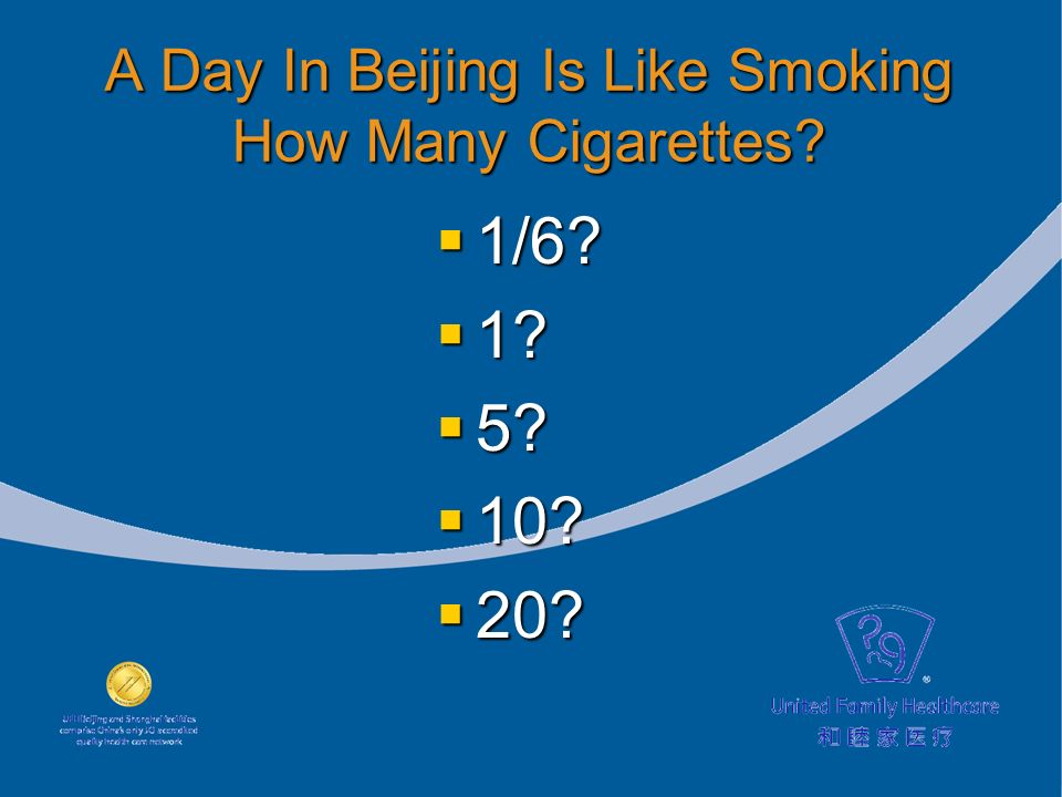 A Day In Beijing Is Like Smoking How Many Cigarettes? 1/6? 1/6? 1? 1? 5? 5? 10? 10? 20? 20?