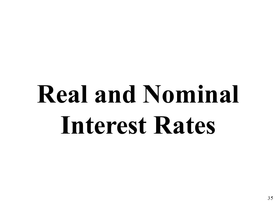 Real and Nominal Interest Rates 35