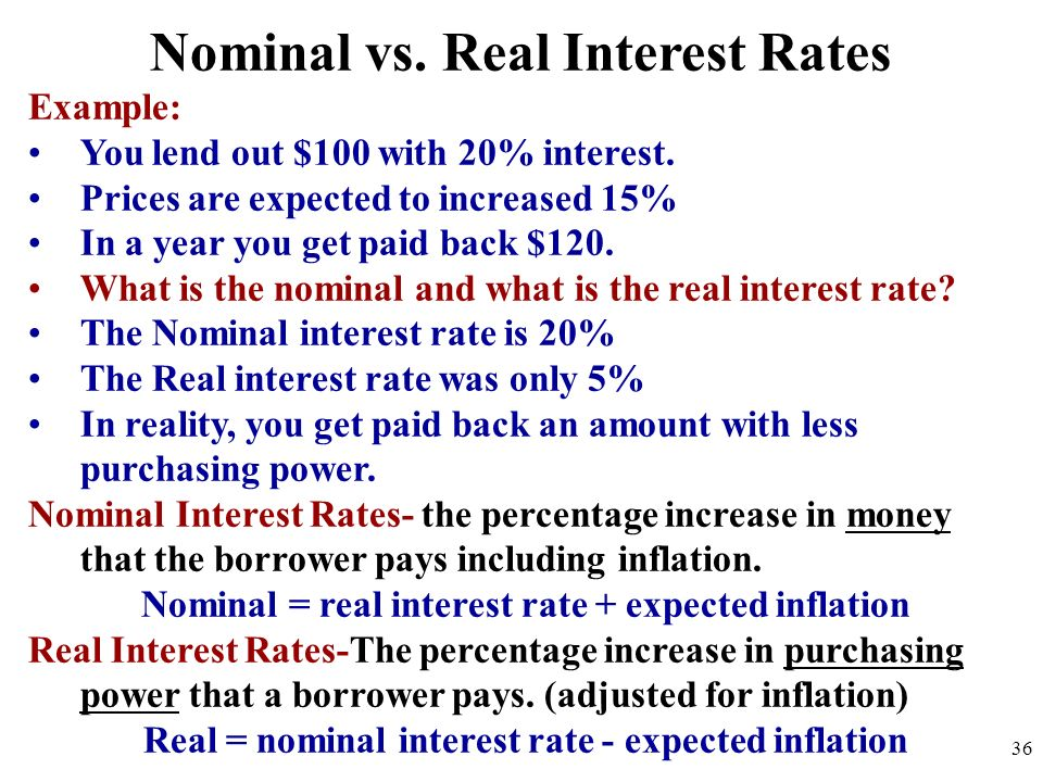 Nominal vs. Real Interest Rates Example: You lend out $100 with 20% interest. Prices are expected to increased 15% In a year you get paid back $120. W