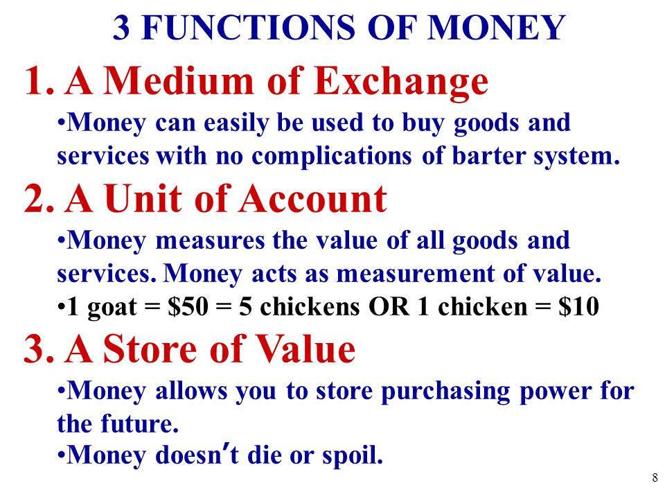 1. A Medium of Exchange Money can easily be used to buy goods and services with no complications of barter system. 2. A Unit of Account Money measures