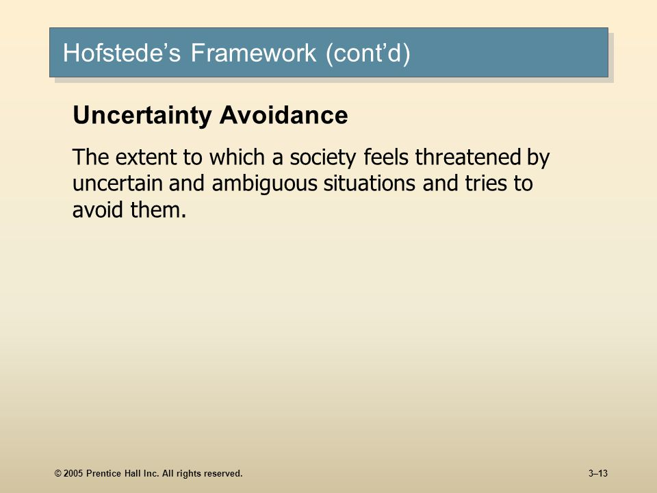 © 2005 Prentice Hall Inc. All rights reserved.3–13 Hofstedes Framework (contd) Uncertainty Avoidance The extent to which a society feels threatened by