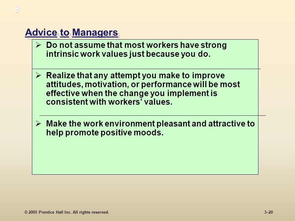 © 2005 Prentice Hall Inc. All rights reserved.3–20 Advice to Managers Do not assume that most workers have strong intrinsic work values just because y