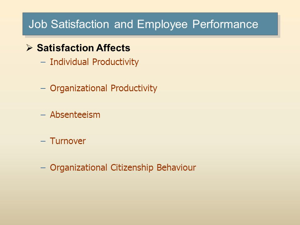 Job Satisfaction and Employee Performance Satisfaction Affects –Individual Productivity –Organizational Productivity –Absenteeism –Turnover –Organizat
