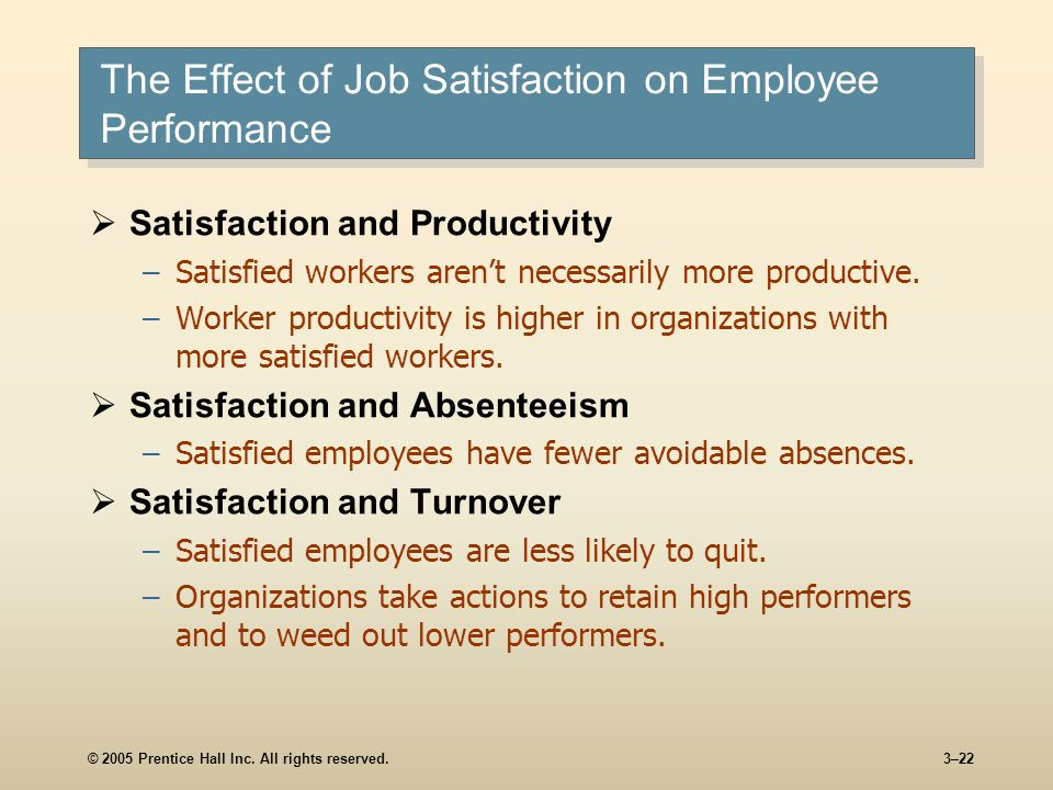 © 2005 Prentice Hall Inc. All rights reserved.3–22 The Effect of Job Satisfaction on Employee Performance Satisfaction and Productivity –Satisfied wor