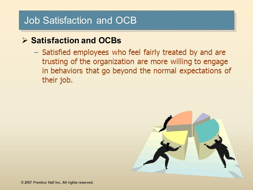 © 2007 Prentice Hall Inc. All rights reserved. Job Satisfaction and OCB Satisfaction and OCBs –Satisfied employees who feel fairly treated by and are