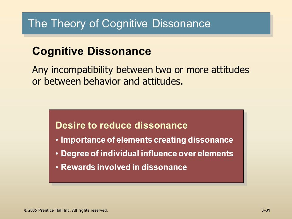 © 2005 Prentice Hall Inc. All rights reserved.3–31 The Theory of Cognitive Dissonance Desire to reduce dissonance Importance of elements creating diss
