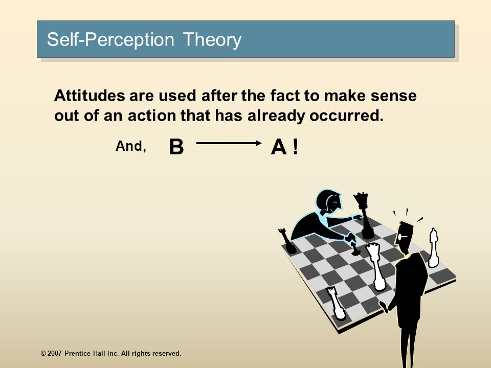 © 2007 Prentice Hall Inc. All rights reserved. Self-Perception Theory Attitudes are used after the fact to make sense out of an action that has alread