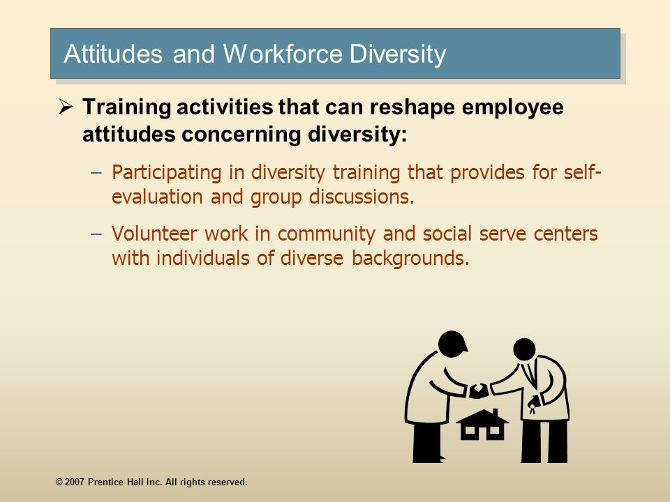 © 2007 Prentice Hall Inc. All rights reserved. Attitudes and Workforce Diversity Training activities that can reshape employee attitudes concerning di