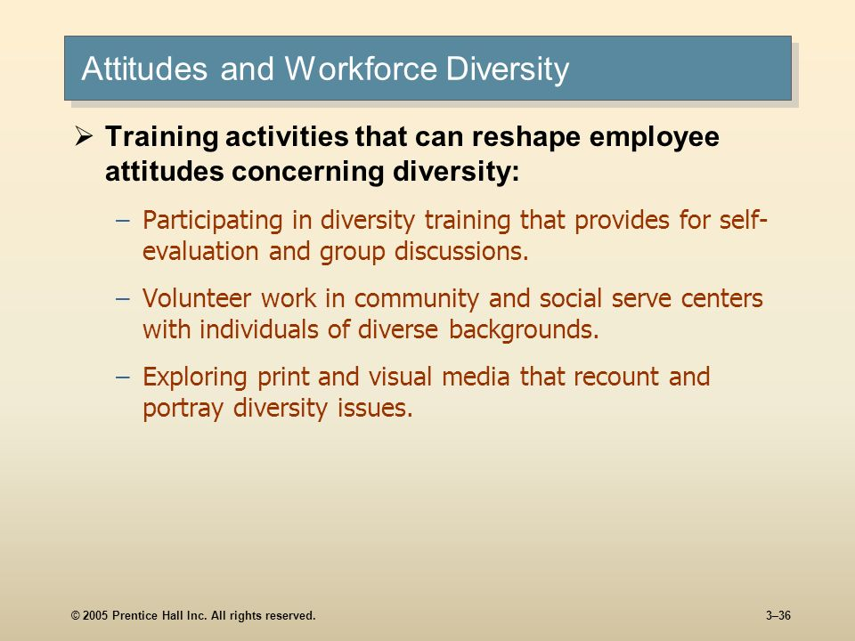 © 2005 Prentice Hall Inc. All rights reserved.3–36 Attitudes and Workforce Diversity Training activities that can reshape employee attitudes concernin