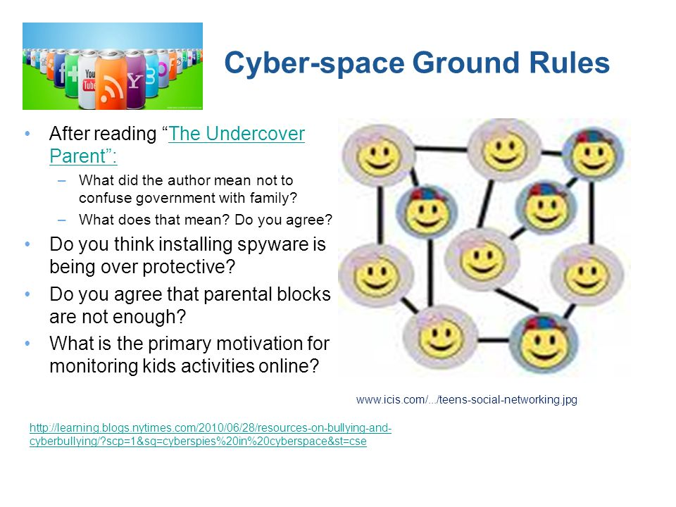 Cyber-space Ground Rules After reading The Undercover Parent:The Undercover Parent: –What did the author mean not to confuse government with family.