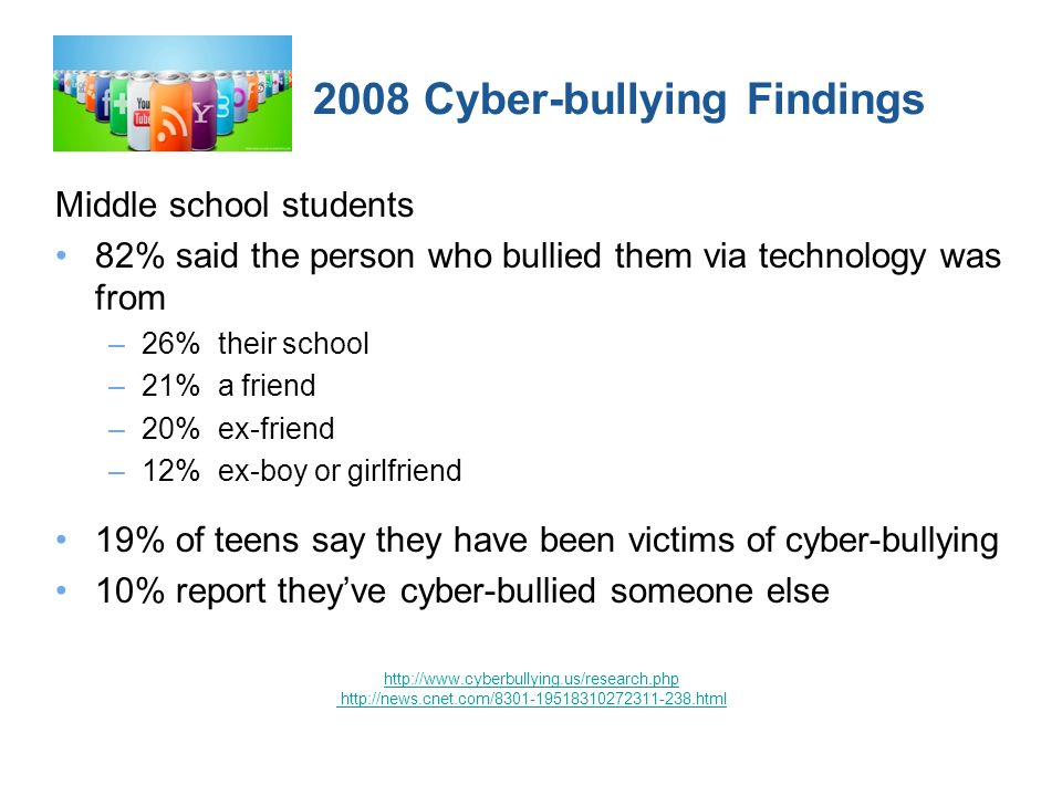 2008 Cyber-bullying Findings Middle school students 82% said the person who bullied them via technology was from –26% their school –21% a friend –20% ex-friend –12% ex-boy or girlfriend 19% of teens say they have been victims of cyber-bullying 10% report theyve cyber-bullied someone else http://www.cyberbullying.us/research.php http://news.cnet.com/8301-19518310272311-238.html